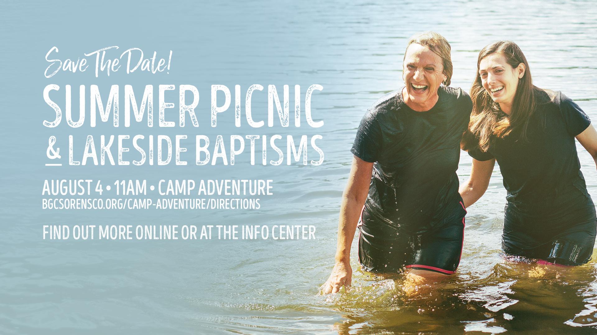 Summer Picnic at the Lake!  Saturday August 4th